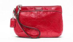 COACH Signature Patent Leather Medium Wristlet - RED