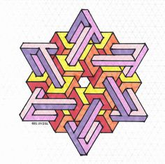 My Most Favorite Geometric Tattoo Isometric Paper, Isometric Drawing, Isometric Design, Graph Paper Drawings, Graph Paper Art, 3d Drawings, Impossible Shapes, Geometry Art, Geometry Pattern