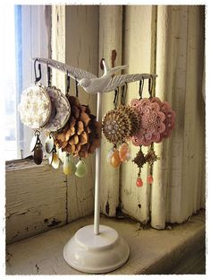 earrings made from upcycled, repurposed vintage clip on earrings and semi-precious stones. by bee vintage redux.