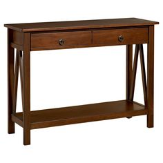 Have to have it. Linon Titian Console Table - Antique Tobacco - $169.99 @hayneedle.com