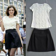 Summer 2014 Celebrity Style White Bow T-shirt +Black Skirt  Skirt Suits  (1 set)   140623V V01 $62.00