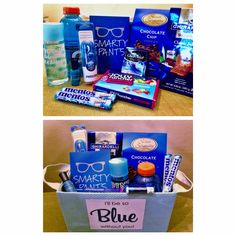 I'll be so blue without you gift basket. I made this for my best friend at work as her going away gift. Very fun and easy gift that will sure put a smile on anyone's face! Going Away Presents, Going Away Parties, Presents For Best Friends, Best Friend Gifts, Miss You Gifts, Bff Gifts, Easy Gifts, Homemade Gifts, Teacher Gifts