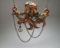 Chained Pink Octopus Necklace  Polymer Clay by MythicSculptlore
