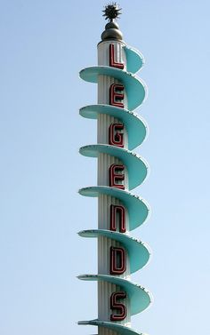 Spiral Aqua, Teal, Red and White Vintage Neon Legends Sign | Kitschy | Kitsch | Retro Sign | Pillar