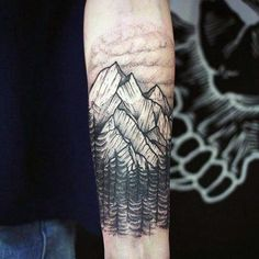 Mountain Top Pine Tree Forest Men's Tattoo