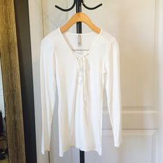 Lace-Up Ivory Top Brand new Tops Tees - Long Sleeve
