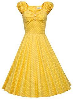 MUXXN® Women 1950s Vintage Retro Capshoulder Party Swing Dress (L, Yellow Dot) MUXXN http://www.amazon.com/dp/B014K9BDOI/ref=cm_sw_r_pi_dp_XsJ-vb1M5EK5G