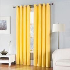 The perfect accent to any room in your home, the Fiesta Window Curtain Panel features a clean look in a bright color. The panel has grommets for easy hanging to block out light with a contemporary style. Yellow Curtains, Cotton Curtains, Grommet Curtains, Drapes Curtains, Yellow Bedding, Curtains Living, Velvet Curtains, Bedroom Curtains, My New Room