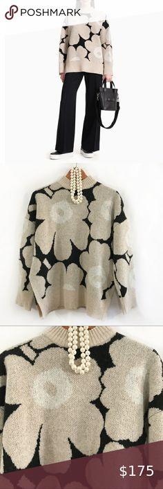 Marimekko, Plus Fashion, Fashion Tips, Fashion Trends, Wool Sweaters, Houndstooth, Mock Neck, Loose Fit, Underarm