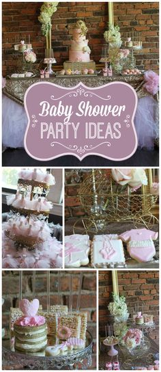 What a beautiful pink and gold glam baby shower! See more party ideas at CatchMyParty.com!