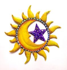 Sun and moon painted wall decoration - patio decor on Etsy, $25.00