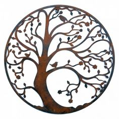 Round Rusty Look Finish Metal Tree Garden Or Home Wall Art