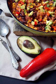 Quinoa-Chilli mit Avocado - vegetarisch und schnell - Rezept
