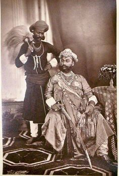 The Maharaja of Indore, photographed by Samuel Bourne, at the Delhi Darbar of 1877.