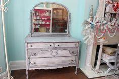 Shabby Chic Dresser Gray White Distressed door VintageChicFurniture,