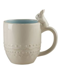 Another great find on #zulily! Cream & Sky Blue Embossed Bunny Dolomite Mug #zulilyfinds