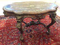 c1850 Rococo center table, prob Phila, rswd/blk mble, 57l, 14-7.