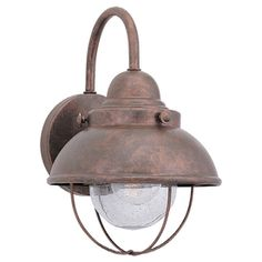 lowes: Sea Gull Lighting 11-1/4-in Weathered Copper Outdoor Wall Light. 110. A