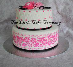 - pink and black wedding cake, gumpaste flowers