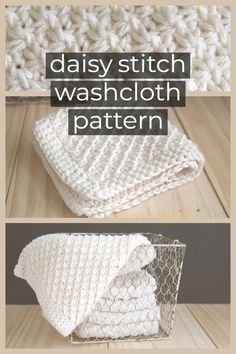 This Daisy Stitch Knit Washcloth Pattern with crochet edge knits up quickly. Directions how to do the daisy stitch, plus links to more washcloth & dishcloth knitting patterns Strickmuster Daisy Stitch Knit Washcloth Pattern Knitted Washcloth Patterns, Knitted Washcloths, Dishcloth Knitting Patterns, Crochet Dishcloths, Knitting Stitches, Knit Crochet, Crochet Patterns, Crochet Daisy, Knitting And Crocheting