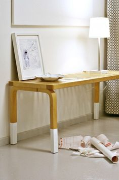 """""""dipped"""" furniture legs using contact paper.  (hopefully!) easy to remove when you're tired of it!"""