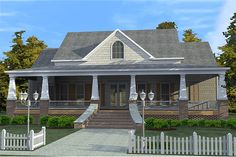 House Plan 63-343 Designer's Note:  This home will capture the heart of anyone that loves to relax and unwind on a large wraparound porch
