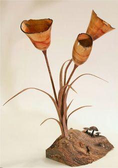 """The Elder Flower"" by Scott Hackler. Box elder, oak and walnut. 14"" tall. Woodturning sculpture"