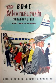 New York to London BOAC Monarch, 1951 - original vintage poster listed on AntikBar.co.uk
