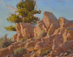 """""""Rocks Catching Rays"""", oil, 8x10"""" ©'16 Jean LeGassick"""