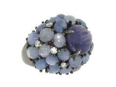 Star Sapphire and Diamond Ring in 18K from Beladora