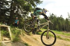 Stacey Martin sessioning a drop in the Whistler Bike Park