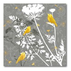 Gray and Gold Finch I Canvas Wall Art - 16W x 16H in. - WEB-YG138