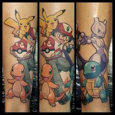 Pokemon Tattoo.  Charmander, Pikachu, Ash, Squirtle, and Mewtwo.