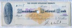 1883 Old Colony Steamboat Company Check Merchants National Bank Boston Stock | eBay