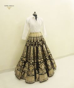 Blue Gold Banarasi Brocade Lehenga with white shirt. Party Wear Indian Dresses, Party Wear Lehenga, Indian Gowns Dresses, Indian Bridal Outfits, Indian Fashion Dresses, Indian Designer Outfits, Designer Dresses, Designer Wear, Modest Fashion