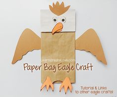 { Paper Bag Craft: Eagle Puppet } from LearnCreateLove.com
