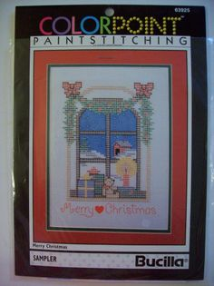 """MERRY CHRISTMAS Colorpoint Paintstitching Bucilla Sampler 9""""X12"""""""