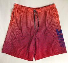 a610a4e687 Nike Vintage Swim Trunks M Boardshorts Bathing Suit Neon Orange 90's Mesh  Lined