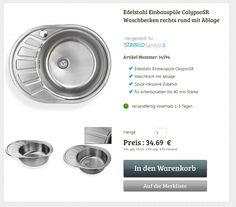Edelstahl Waschbecken Spüle rechts Einbauspüle Spülbecken Küchenspüle rund mit Ablage Edelstahlspüle Waschtisch  #edelstahlspüle #einbauspüle #küchenspüle