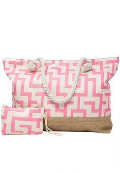 Τσάντα θαλάσσηςMiss Pinky με σχέδια. Η τσάντα έχει σχέδιο μαίανδρο και στο κάτω μέρος είναι τύπου ψάθα. Έχει ξεχωριστό πορτοφόλι