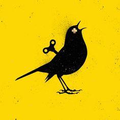 VEEBEE The Clockwork Bird YELLOW Original Painting, Vee Bee