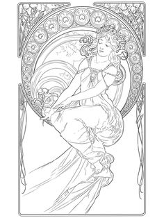 Painting by Alphonse Mucha Coloring page