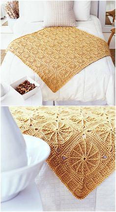 Sunny Spread Blanket – Craft Ideas Diy Crochet, Crochet Ideas, Drops Design, Bed Spreads, Sunnies, Craft Ideas, Quilts, Knitting, Cover