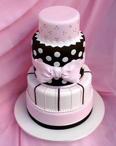 Cute Pink Tiered Wedding Cakes