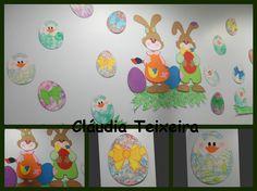 Decoração de parede da páscoa: ovos com a técnica do berlinde e bolas de sabão
