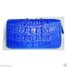 GENUINE CROCODILE Leather Long Zipped Wallet Purse Clutch ZAM14-BT Royal Blue #Handmade #Clutch