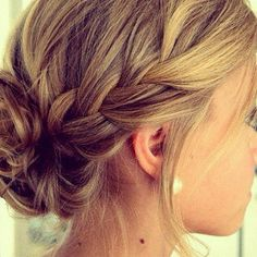 side french braid into a messy bun