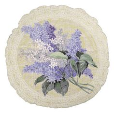 Flieder u. Vintages mit Blumenkissen der Spitzes Rundes Kissen