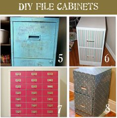 File Cabinets: the turquoise cabinet has been modpodged with phone book pages and painted. So cheap, so easy.