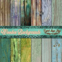 Colored Wooden Backgrounds Digital Scrapbook Paper - shabby peeling paint - INSTANT DOWNLOAD
